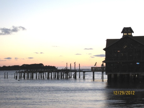 You probably can't see them but there are HUNDREDS of pelicans perched on the pier just outside this restaurant in Cedar Key.