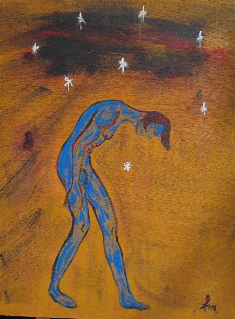 Ava's last painting from late February, 2012. Fitting that it has stars and an exhausted blue being. She was all that...a star and an exhausted blue being.