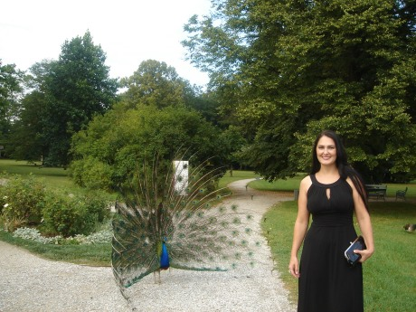 When she was in Graz 2011 studying, she went to the Presidential Palace. This peacock recognized her beauty and flirted with her immediately. Every animal felt like he did. They all recognized her embracing spirit.