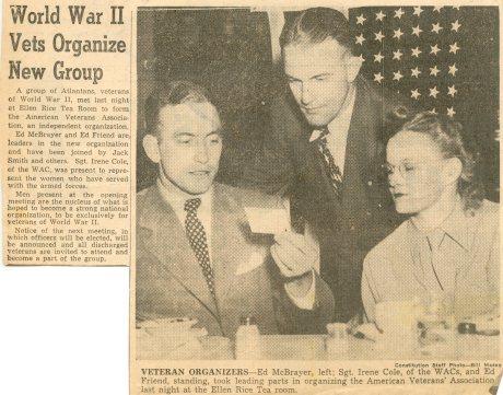 Ed Friend leader of WWII Vet organization 10-1945